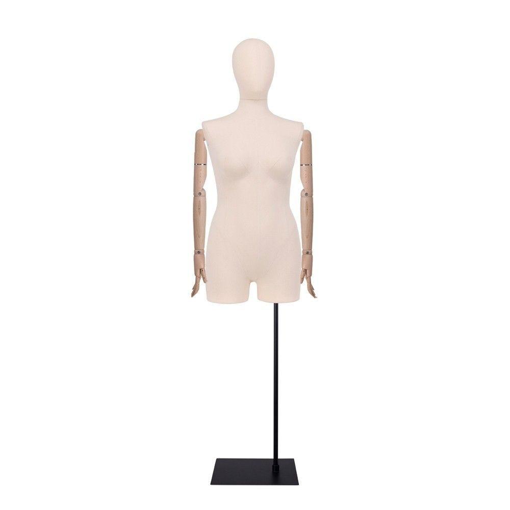 Buste femme avec jambes et bras, tissu écru, socle, set 614