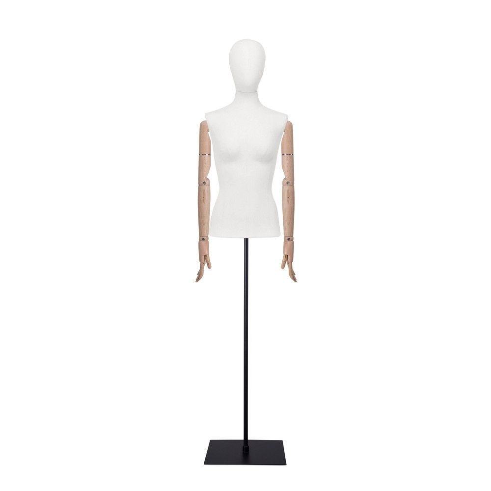 Buste femme blanc, couture, bras, socle noir, set 903