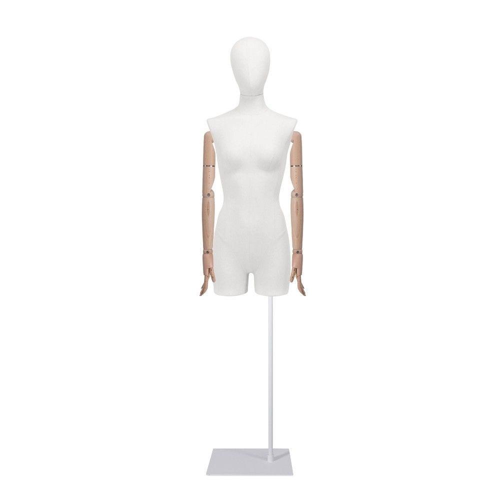 Buste femme avec jambes et bras, tissu blanc,socle, set 905