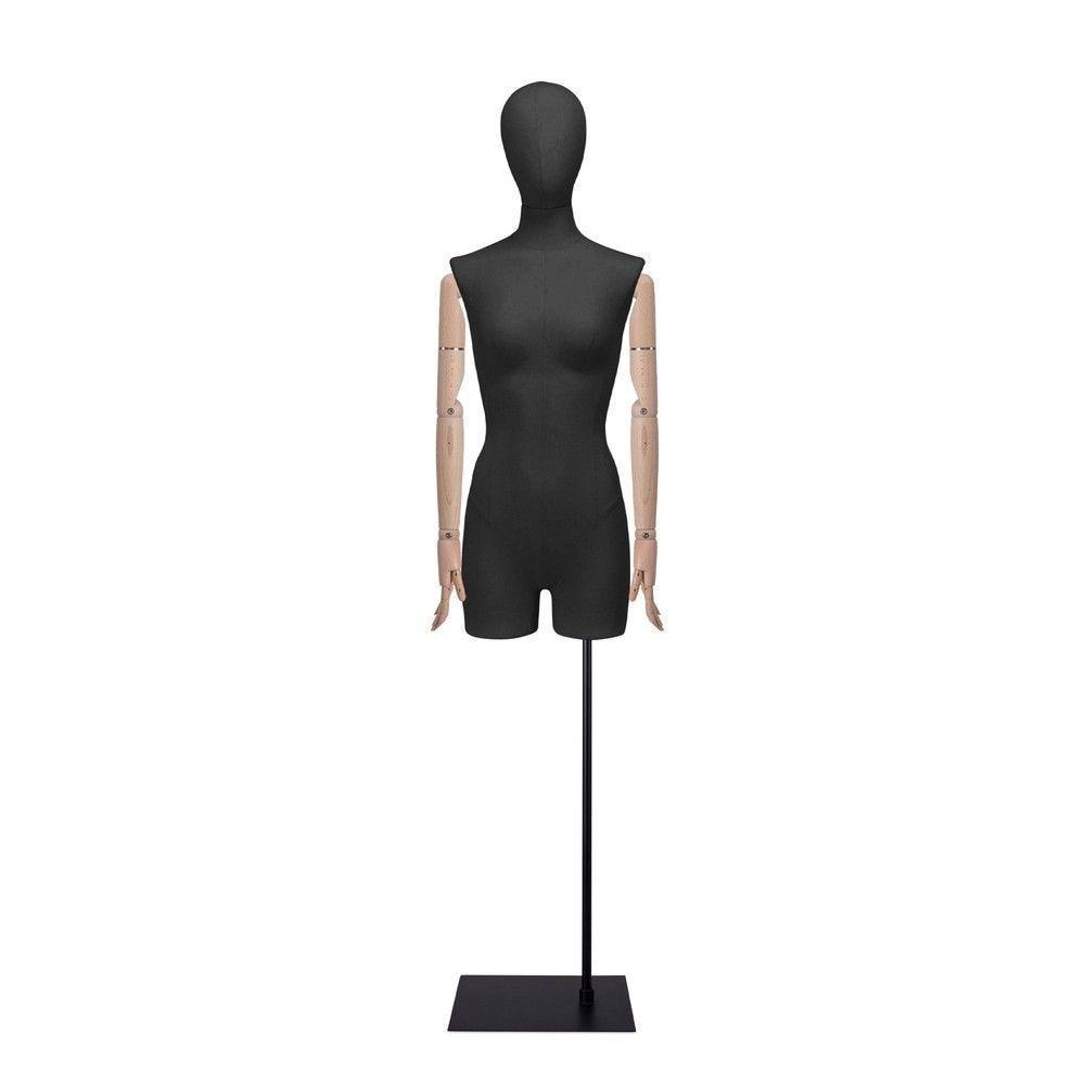 Buste femme avec jambes et bras, tissu noir, socle, set 907