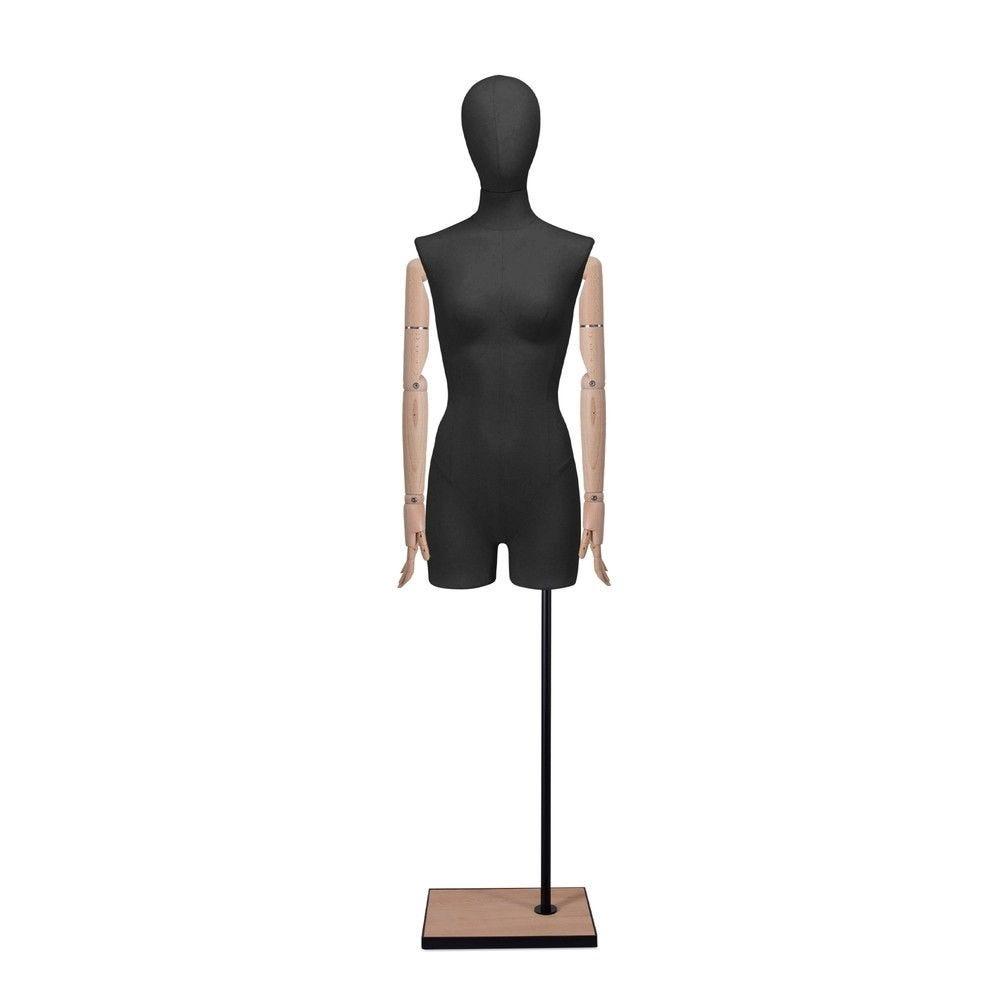 Buste femme avec jambes et bras, tissu noir, socle, set 908