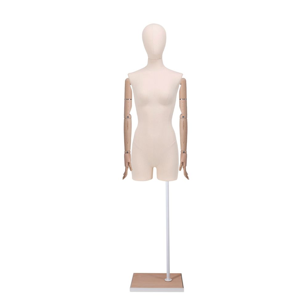 Buste femme avec jambes et bras, tissu écru, socle, set 913