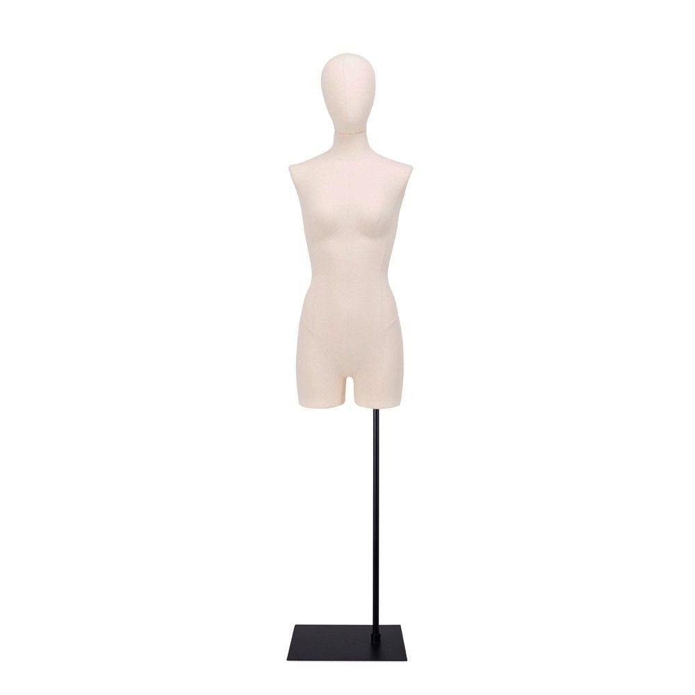 Buste femme avec jambes, tissu écru, socle, set 914