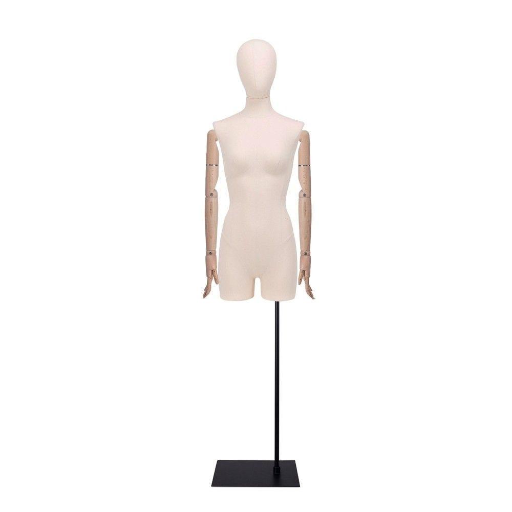 Buste femme avec jambes et bras, tissu écru, socle, set 914