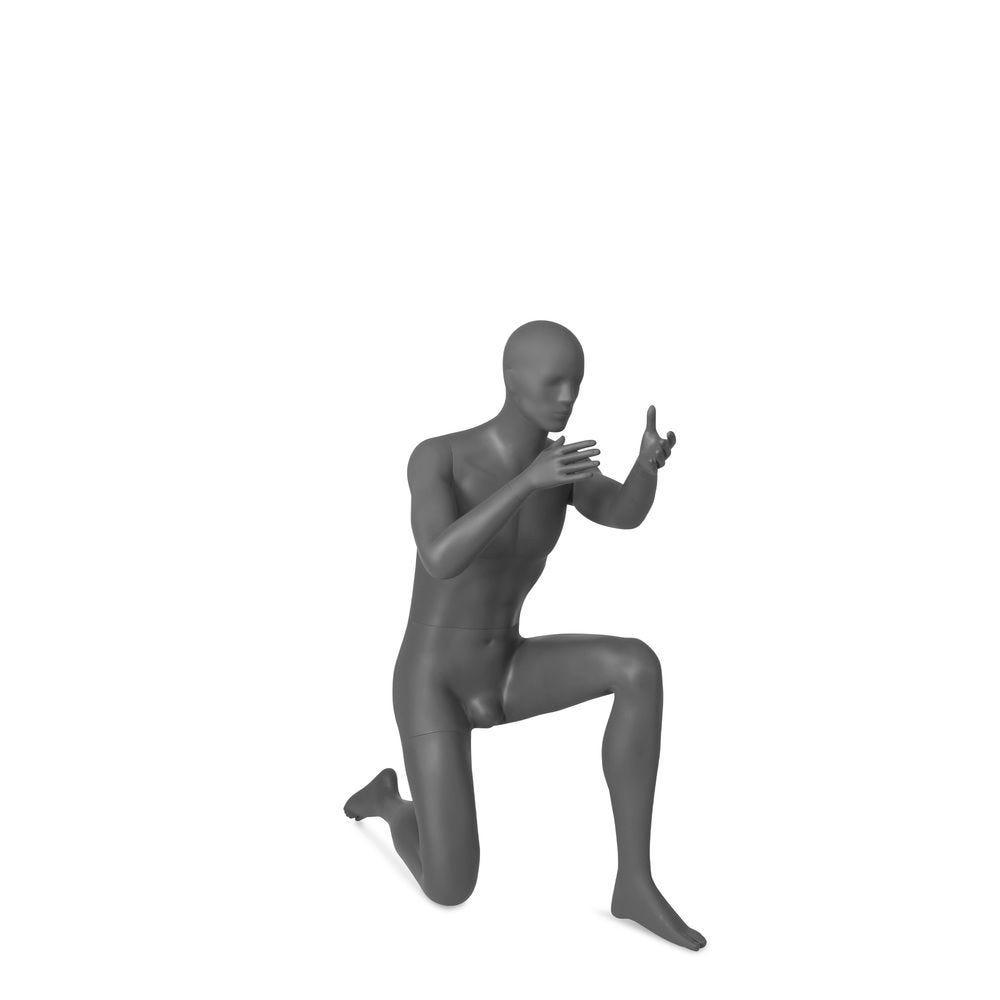 Mannequin homme tête abstraite, Combat Troops gris, pose 1