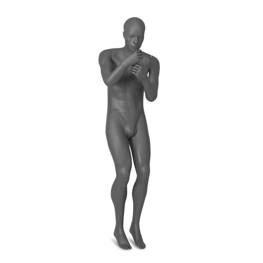 Mannequin homme tête abstraite, Combat Troops gris, pose 2