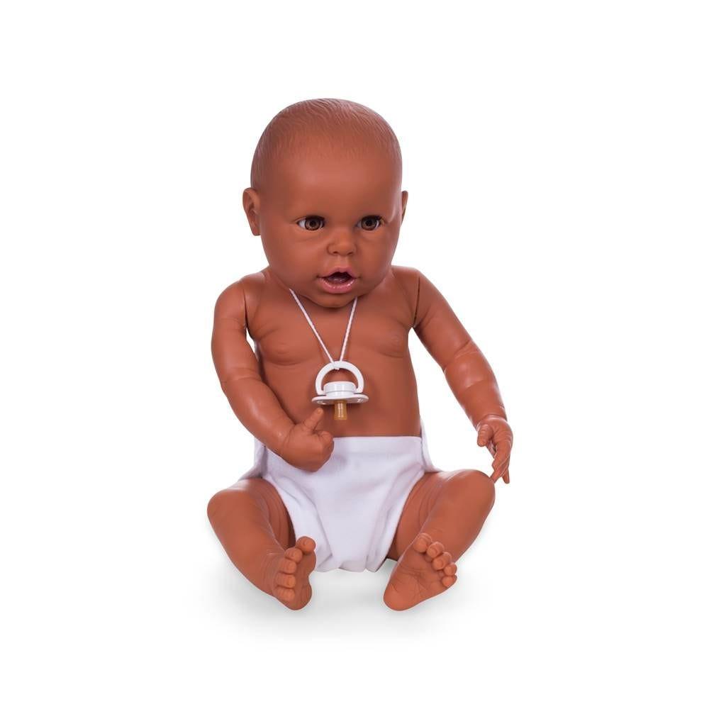 Mannequin bébé garçon qualité vinyle collection baby dolls chair brun clair (photo)