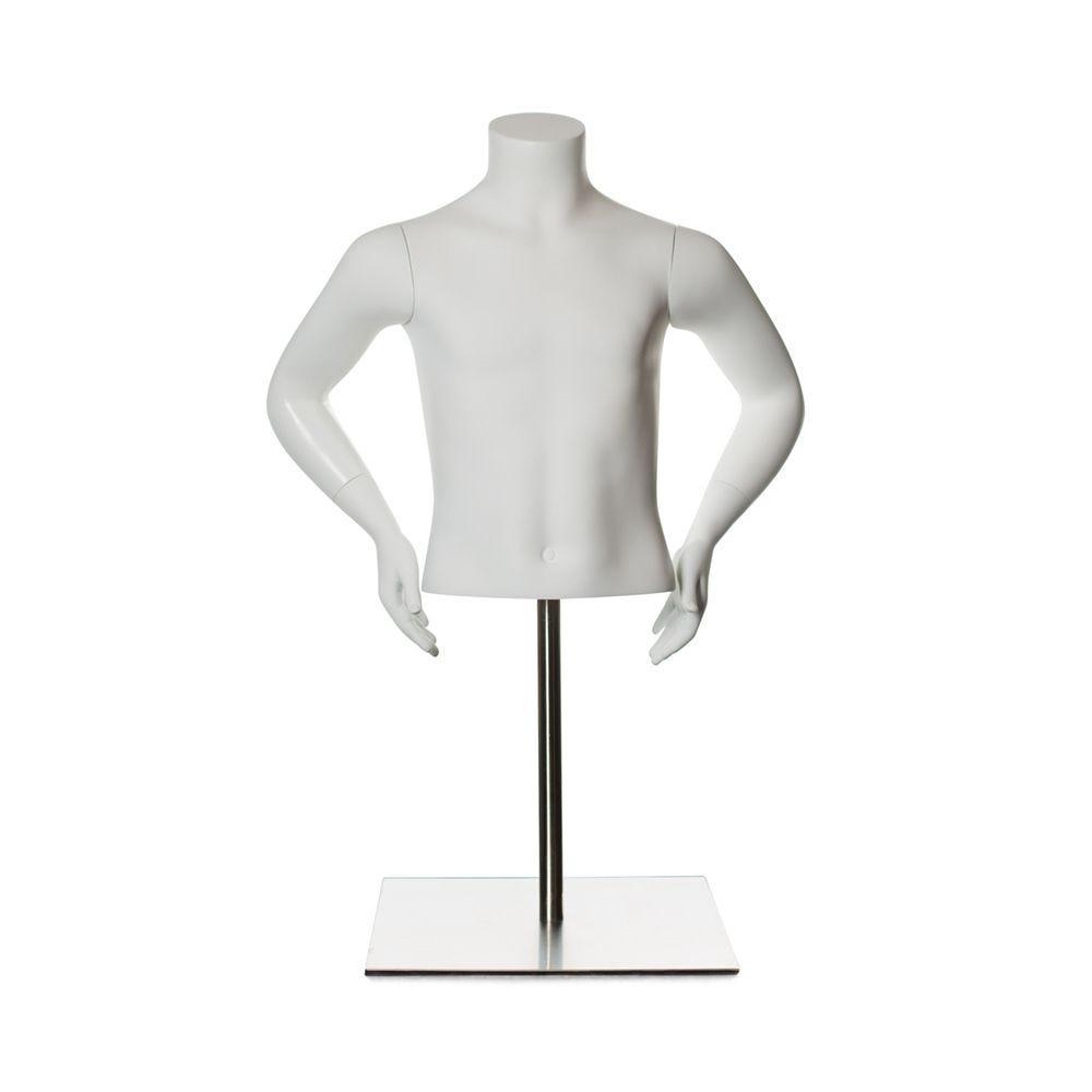 Torse enfant avec bras 8 ans fibre de verre couleur blanc mat inclus socle