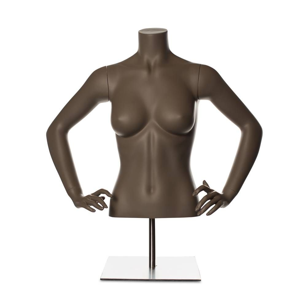 Torse femme avec bras fibre de verre couleur beige gris mat inclus socle
