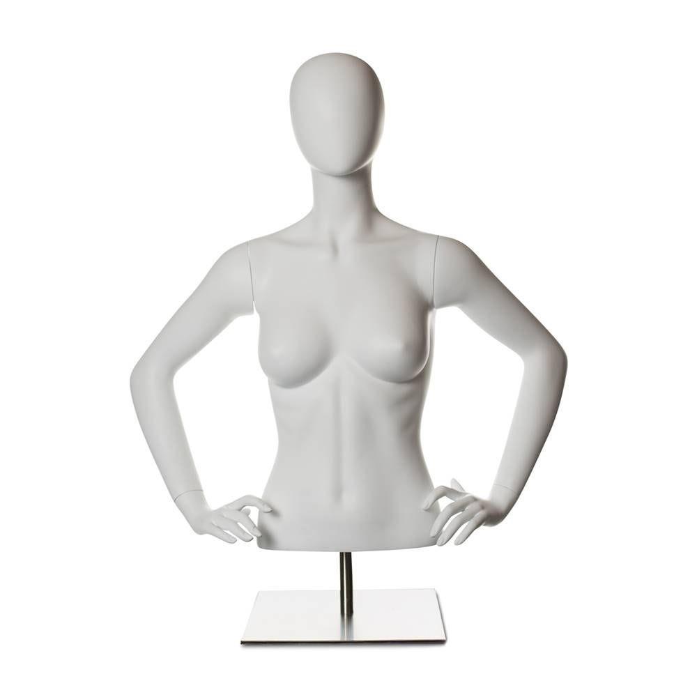 Torse femme avec tête abstraite et bras fibre de verre blanc mat socle compris