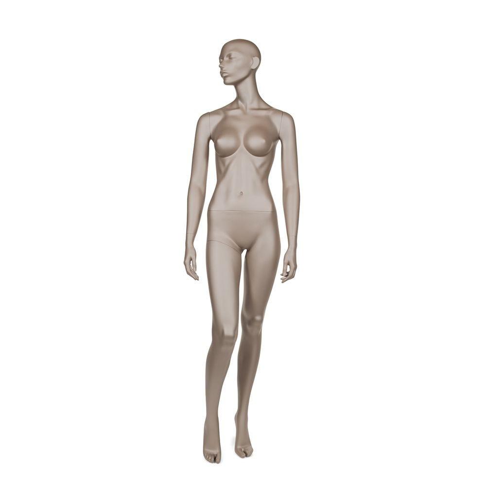 Mannequin femme abstrait bonnet b couleur bronze métallique mat et socle (photo)
