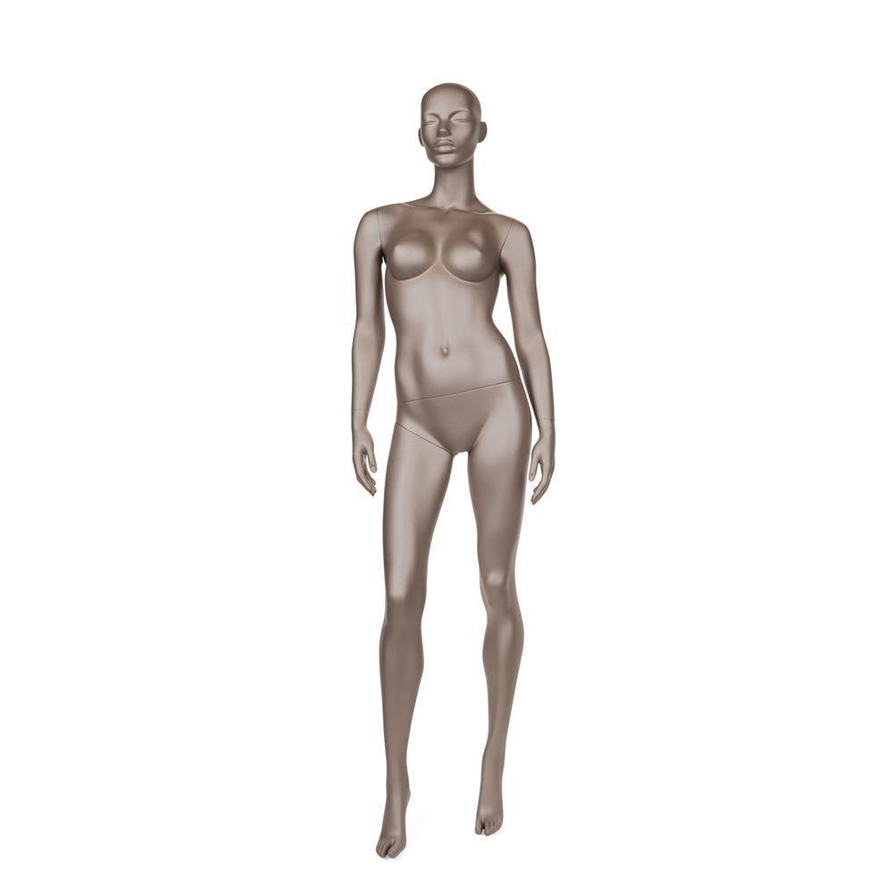 Mannequin femme abstrait bonnet b couleur bronze métallique mat socle compris (photo)