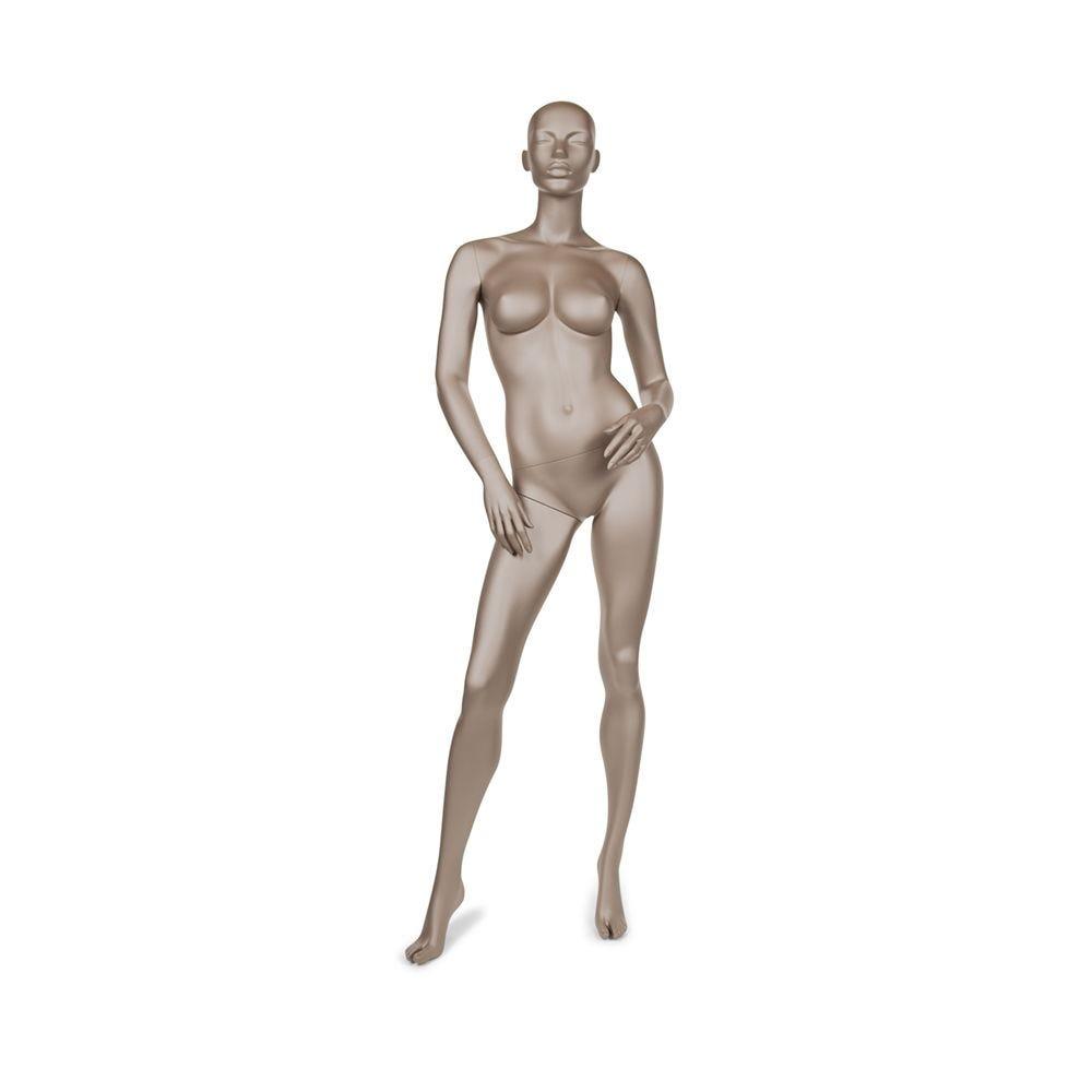 Mannequin femme abstrait bonnet c couleur bronze métallique mat avec socle (photo)