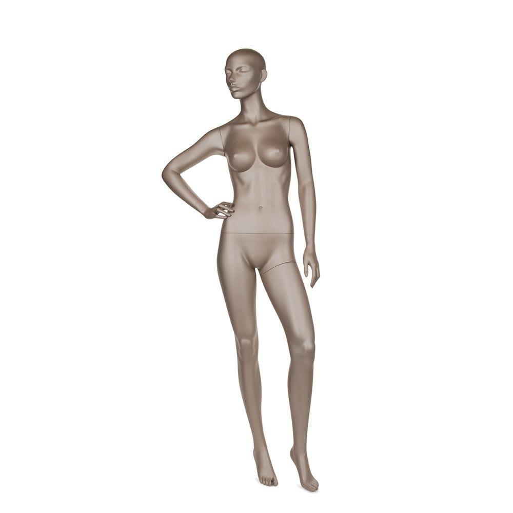 Mannequin femme abstrait bonnet b coloris bronze métallique mat avec socle (photo)