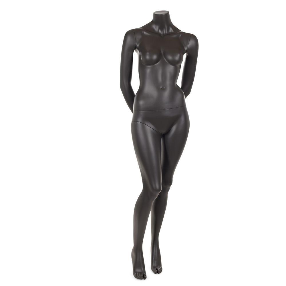Mannequin femme sans tête résine de couleur gris foncé socle en verre (photo)