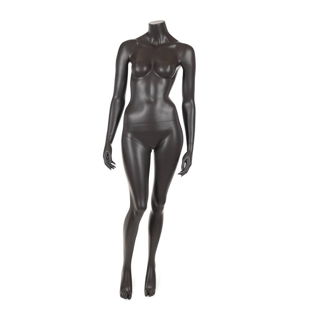 Mannequin femme sans tête résine de coloris gris foncé socle en verre (photo)