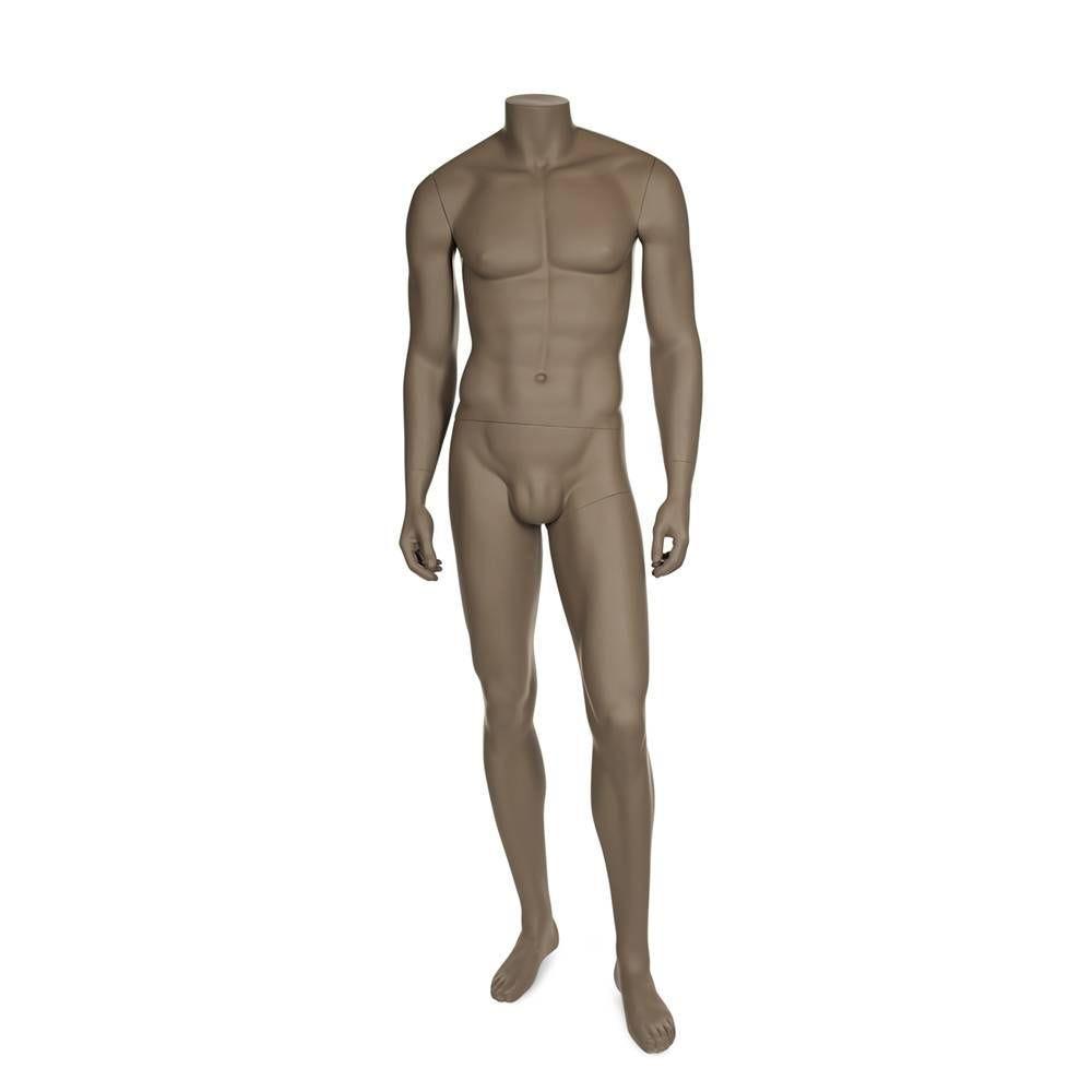 Mannequin homme sans tête résine de couleur beige gris socle en verre (photo)