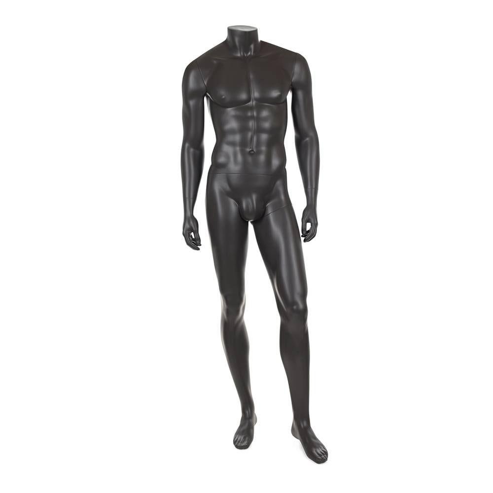 Mannequin homme sans tête résine de couleur gris foncé socle en verre (photo)