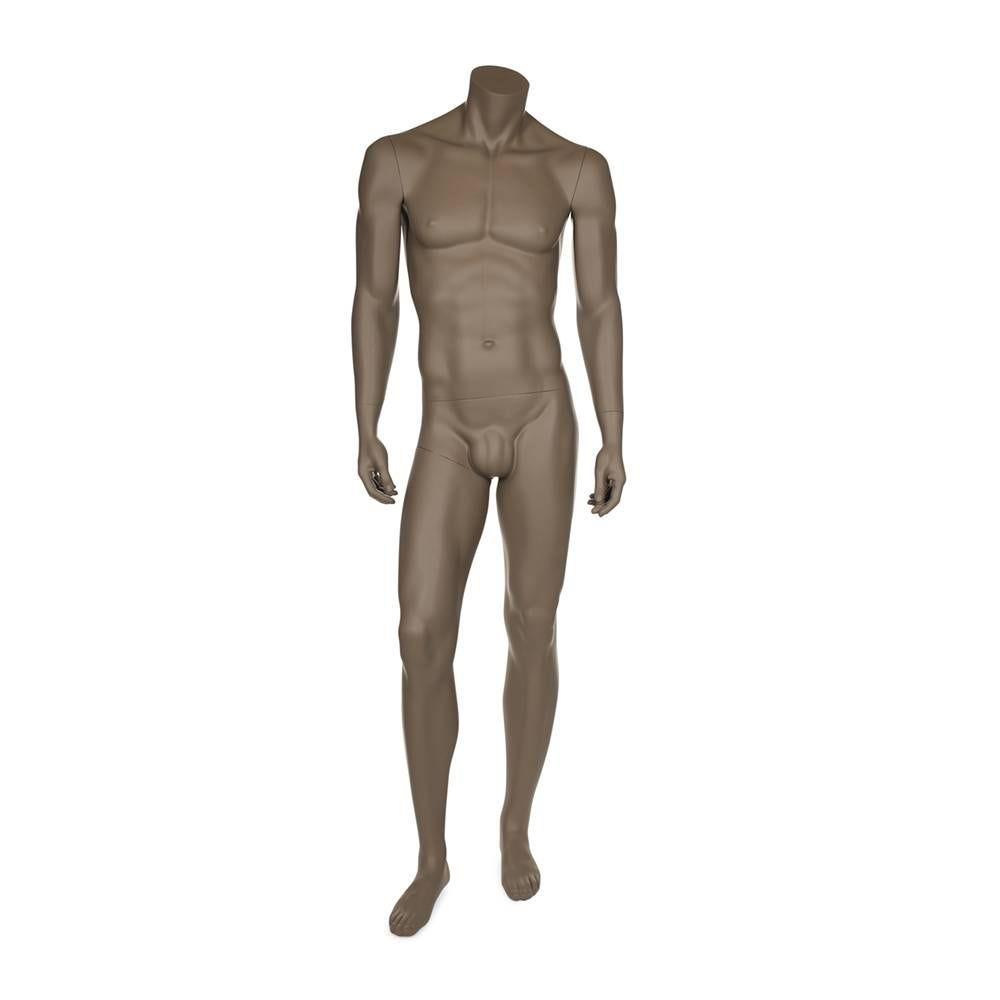 Mannequin homme sans tête résine de coloris beige gris socle en verre (photo)