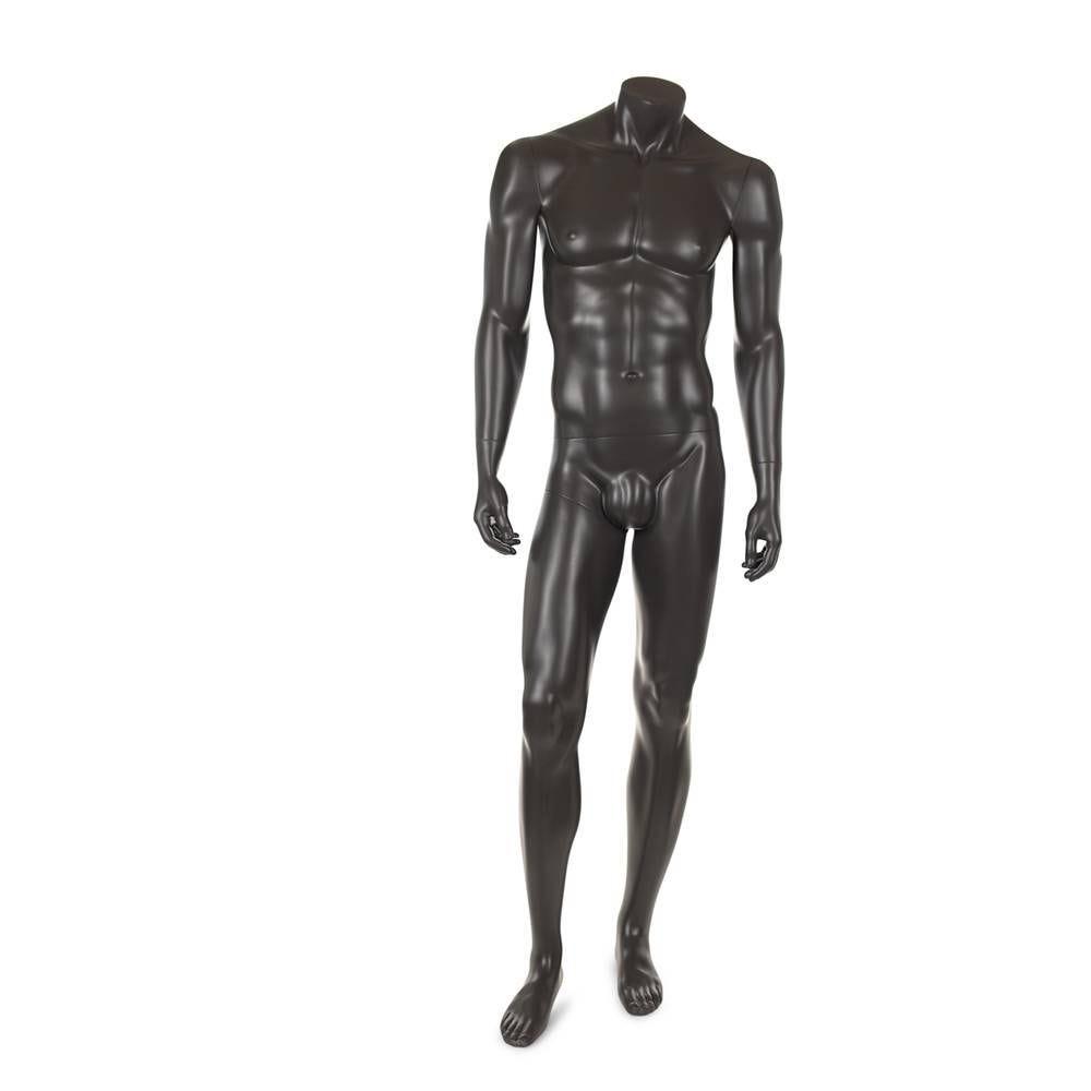 Mannequin homme sans tête résine finition gris foncé socle en verre (photo)
