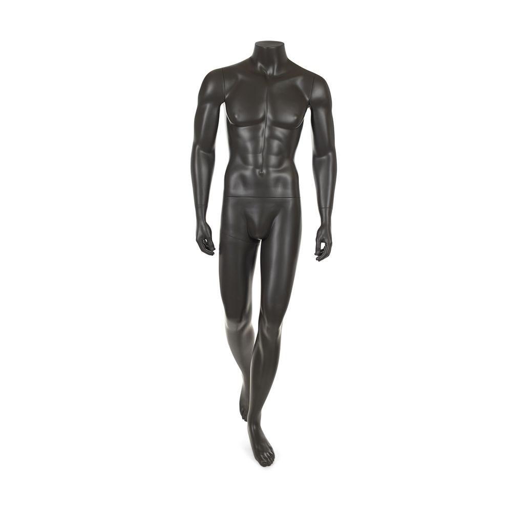 Mannequin homme sans tête résine de coloris gris foncé socle en verre (photo)