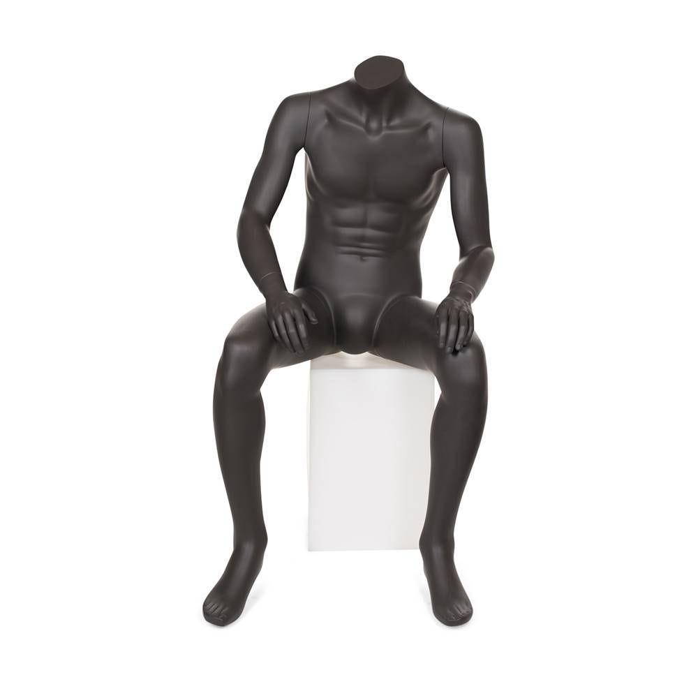 Mannequin homme sans tête assis résine finition peinture gris foncé (photo)
