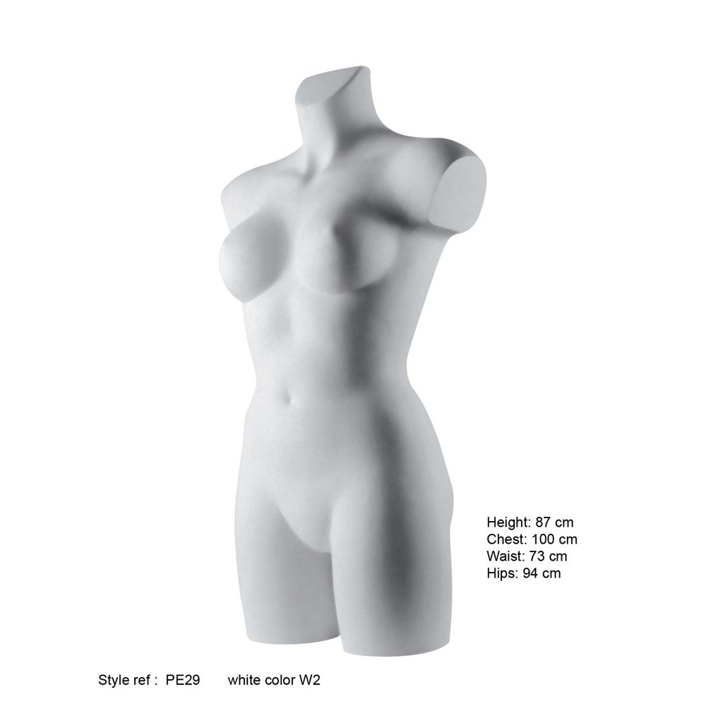 Torse femme ronde jusqu'aux demi-cuisses fibre de verre couleur blanc mat