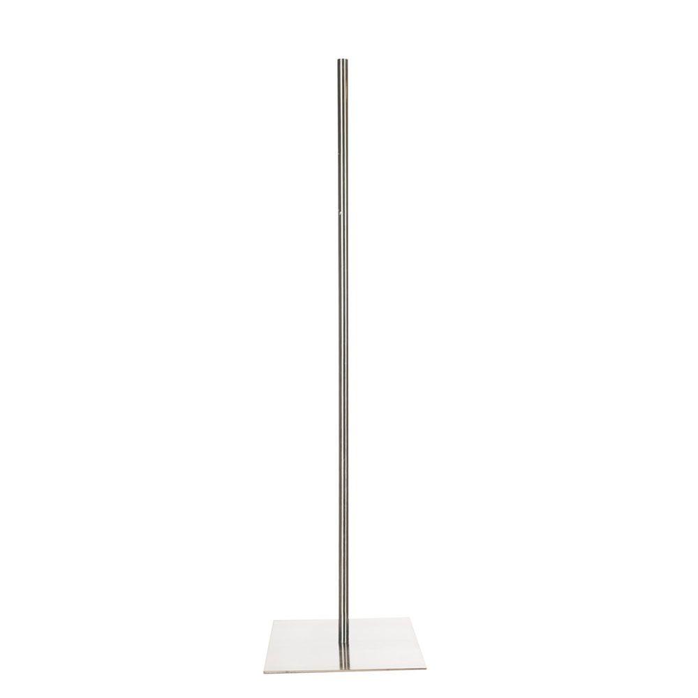 Pied centré 115 cm buste fixation au centre 30 x 30 cm acier inoxydable brossé