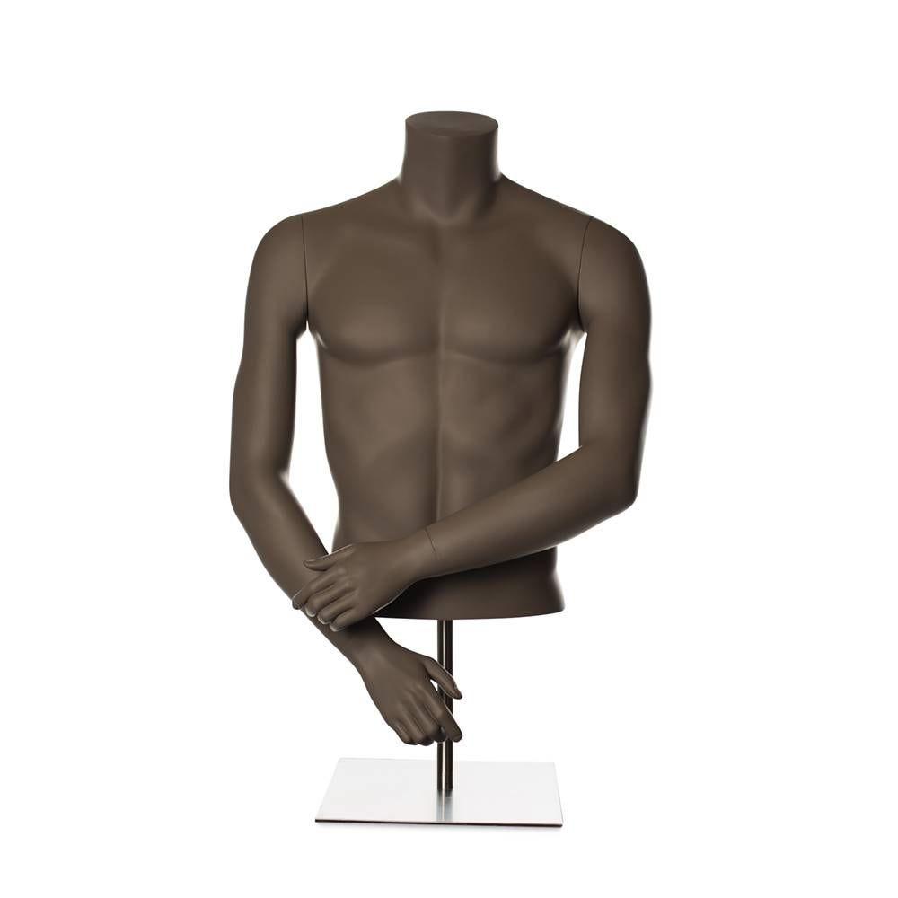 Torse homme avec bras fibre de verre couleur beige gris mat avec socle compris