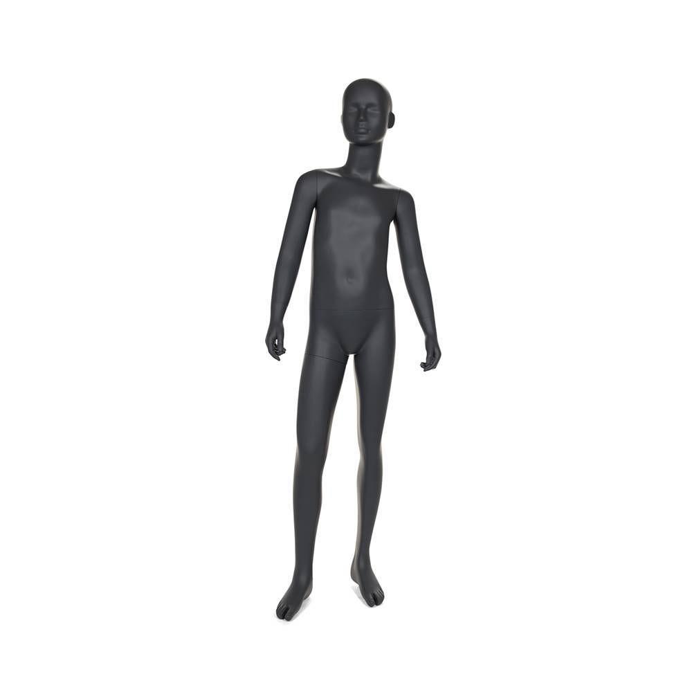 Mannequin enfant tête abstraite 12 ans de couleur gris graphite socle intégré (photo)