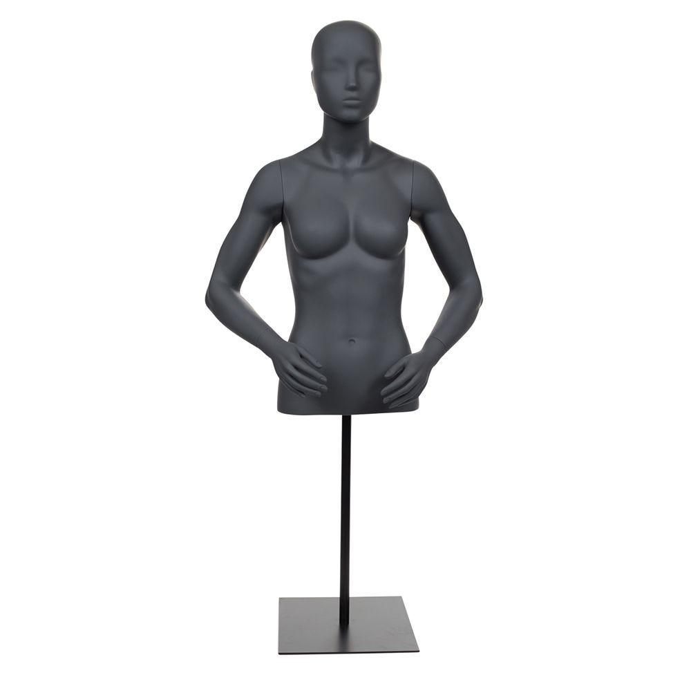 Buste femme abstraite avec bras gris graphite avec socle court noir et tige (photo)