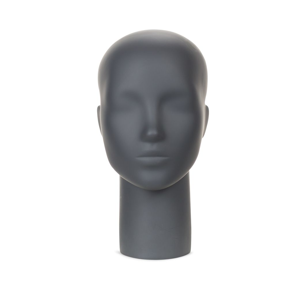 Présentoir tête femme aimanté fibre de verre de coloris gris graphite
