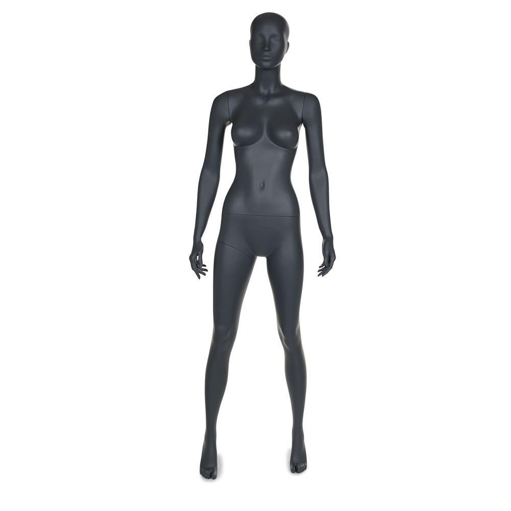 Mannequin femme tête abstraite de coloris gris graphite socle compris (photo)