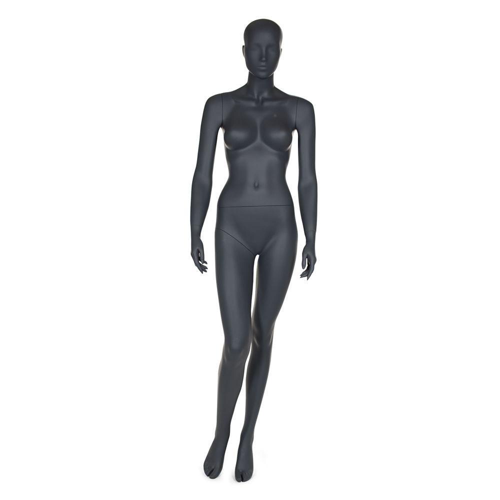 Mannequin femme tête abstraite coloris gris graphite socle compris (photo)