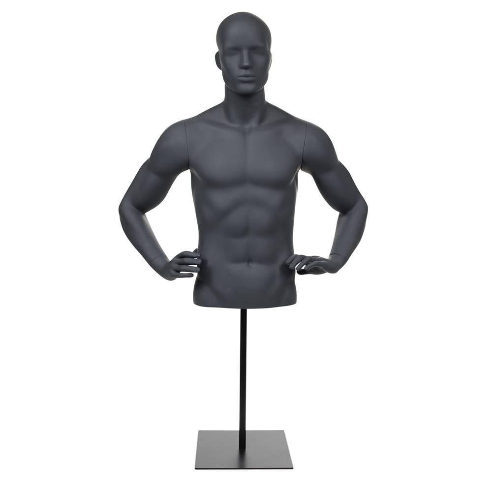 Buste homme avec bras et tête abstraite fibre de verre avec socle gris graphite
