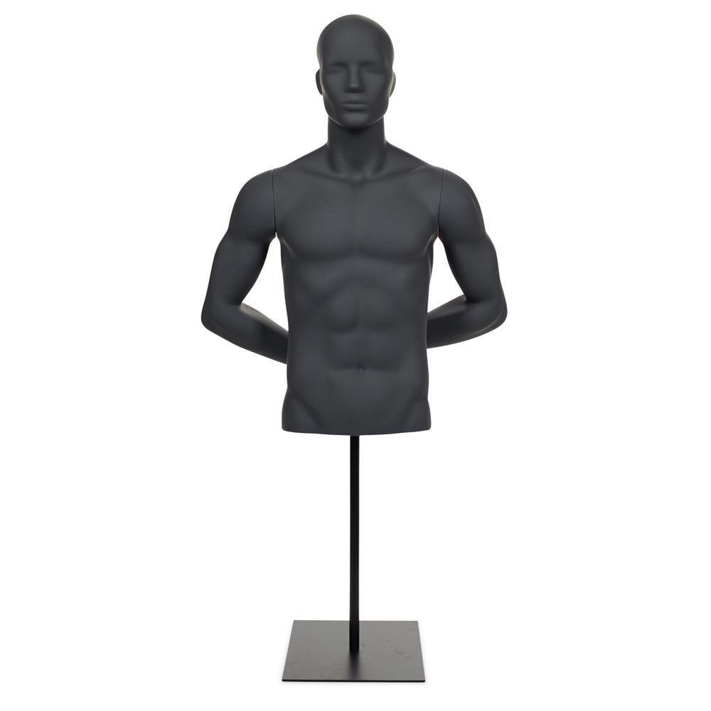 Buste homme avec bras et tête abstraite fibre de verre gris graphite avec socle