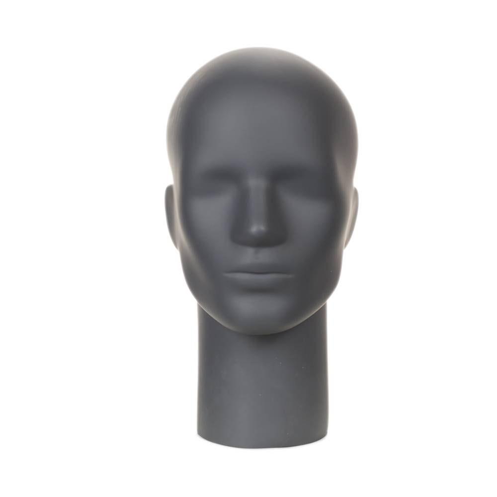 Présentoir tête homme aimanté fibre de verre couleur gris graphite (photo)