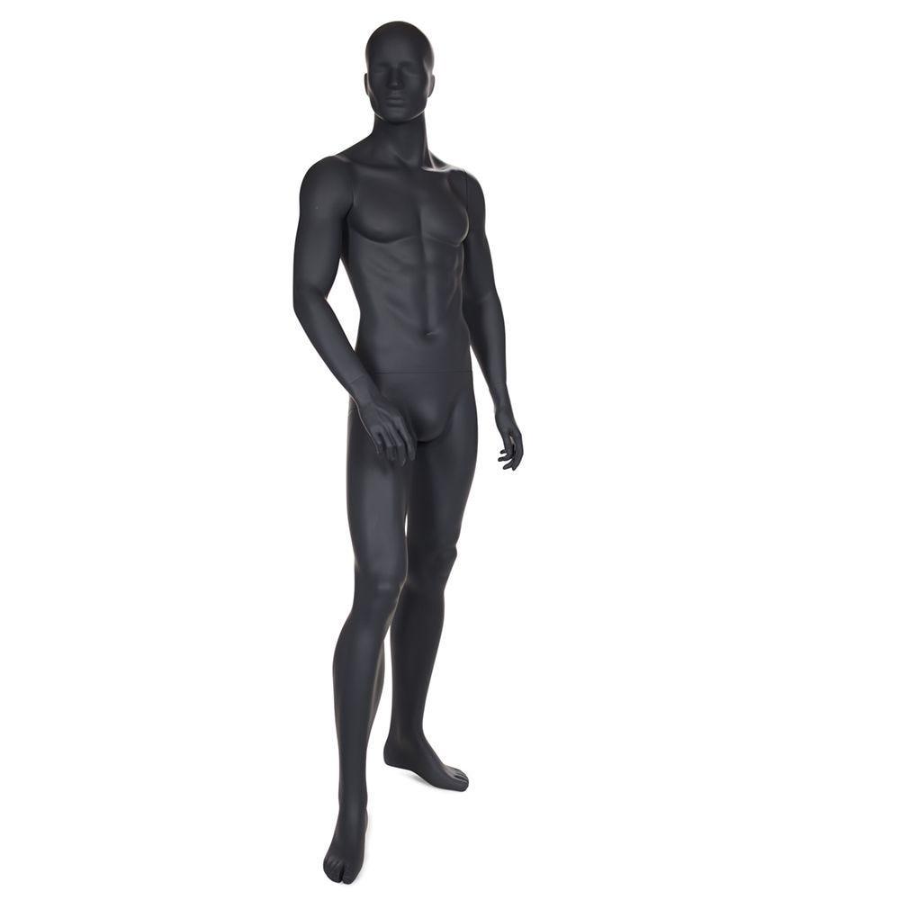 Mannequin homme tête abstraite couleur gris graphite socle compris (photo)