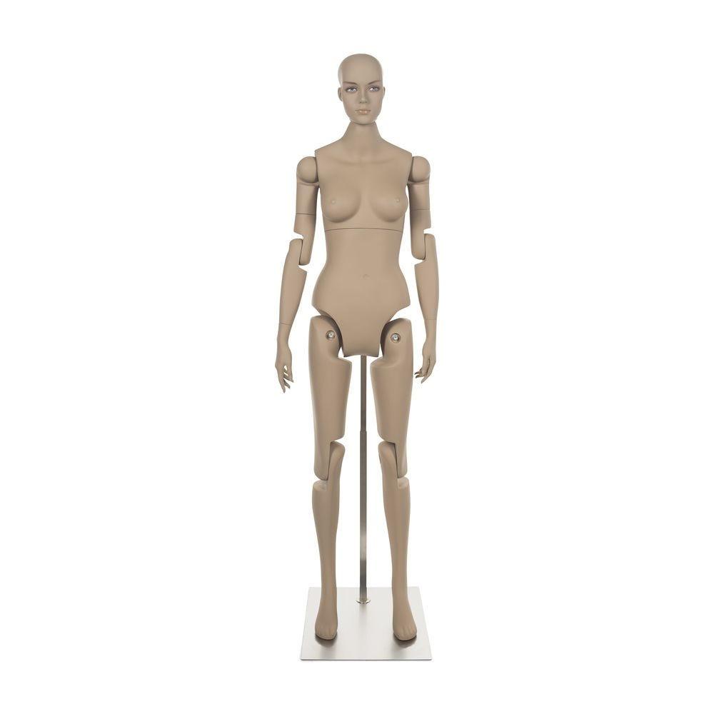 Mannequin femme tête réaliste amovible frp de couleur chair avec socle inclus