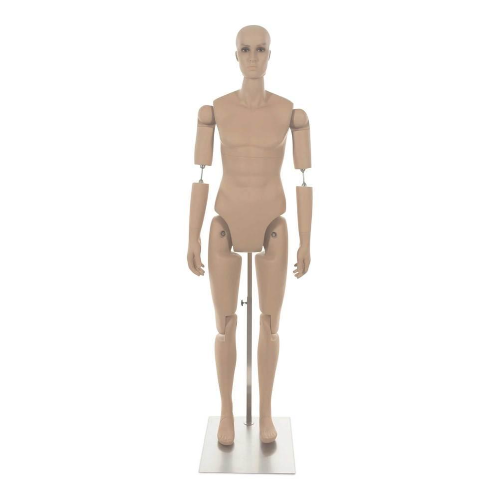 Mannequin homme petit avec tête réaliste amovible frp chair inclus socle (photo)