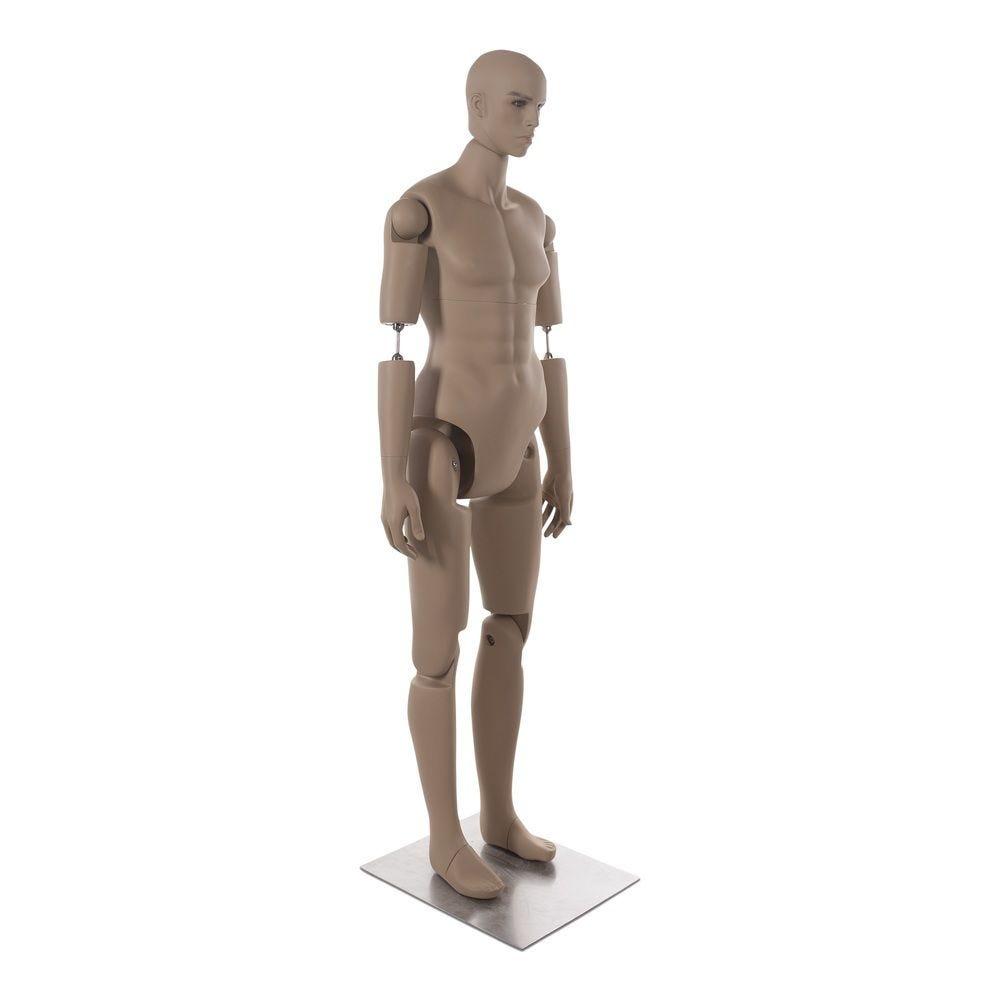 Mannequin homme petit avec tête réaliste amovible frp chair avec socle (photo)
