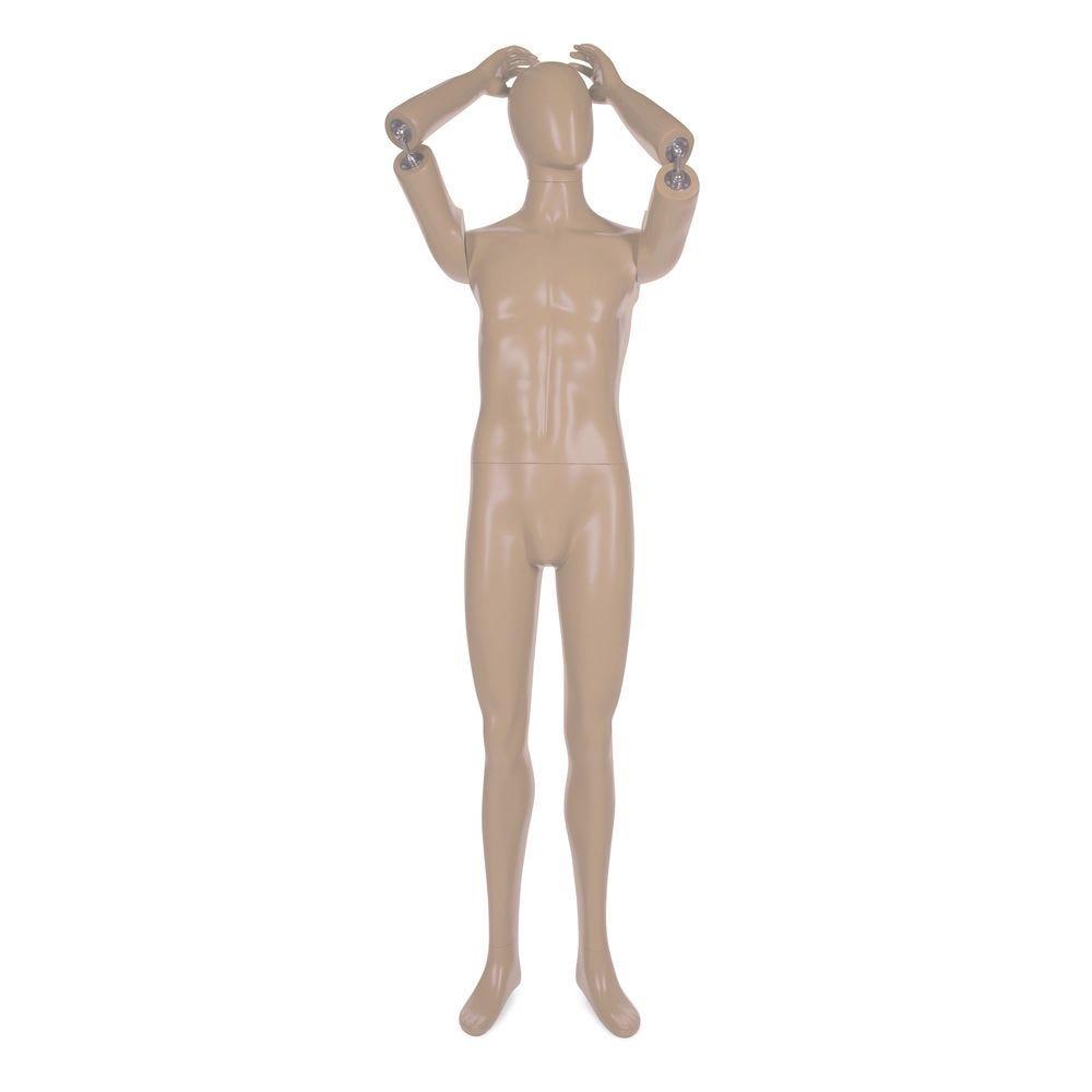 Mannequin homme avec tête abstraite bras amovibles frp chair avec socle (photo)