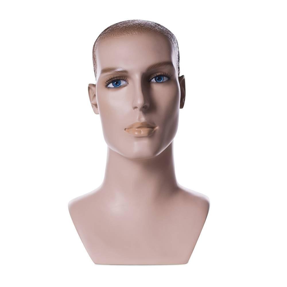 Tête homme cheveux sculptés frp couleur chair et maquillage (photo)