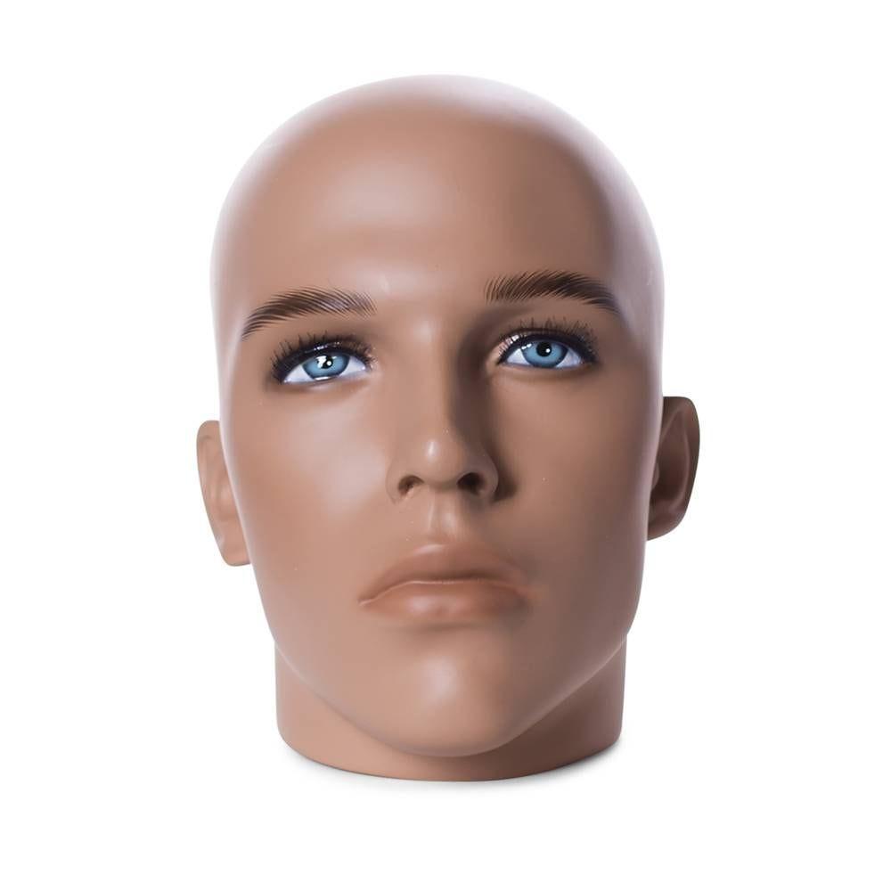 Tête homme réaliste couleur chair et maquillage frp (photo)