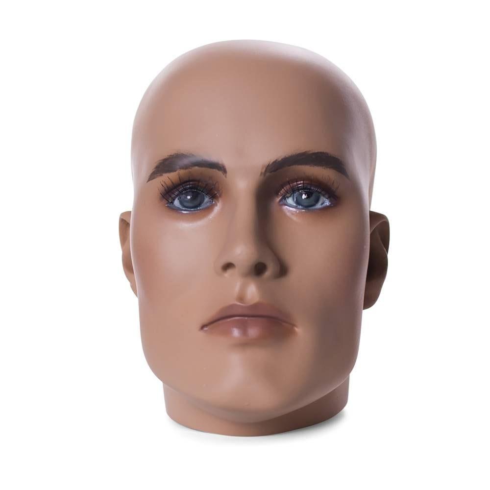Tête homme réaliste coloris chair et maquillage frp (photo)