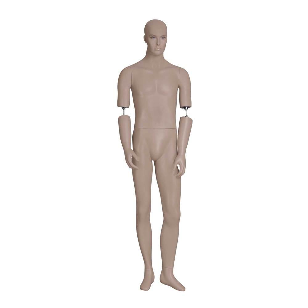Mannequin homme tête réaliste des bras amovibles couleur chair socle inclus (photo)