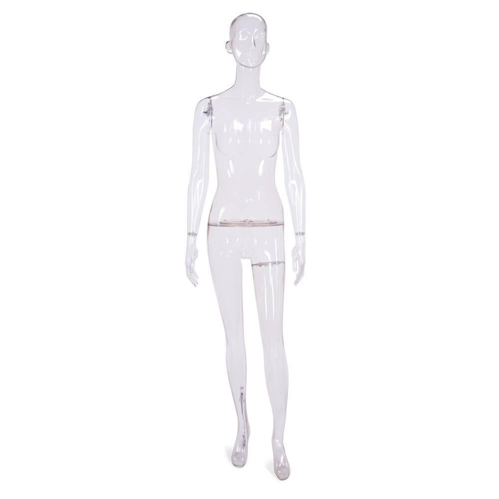Mannequin femme tête sémi-abstraite polycarbonate transparent avec socle et tige