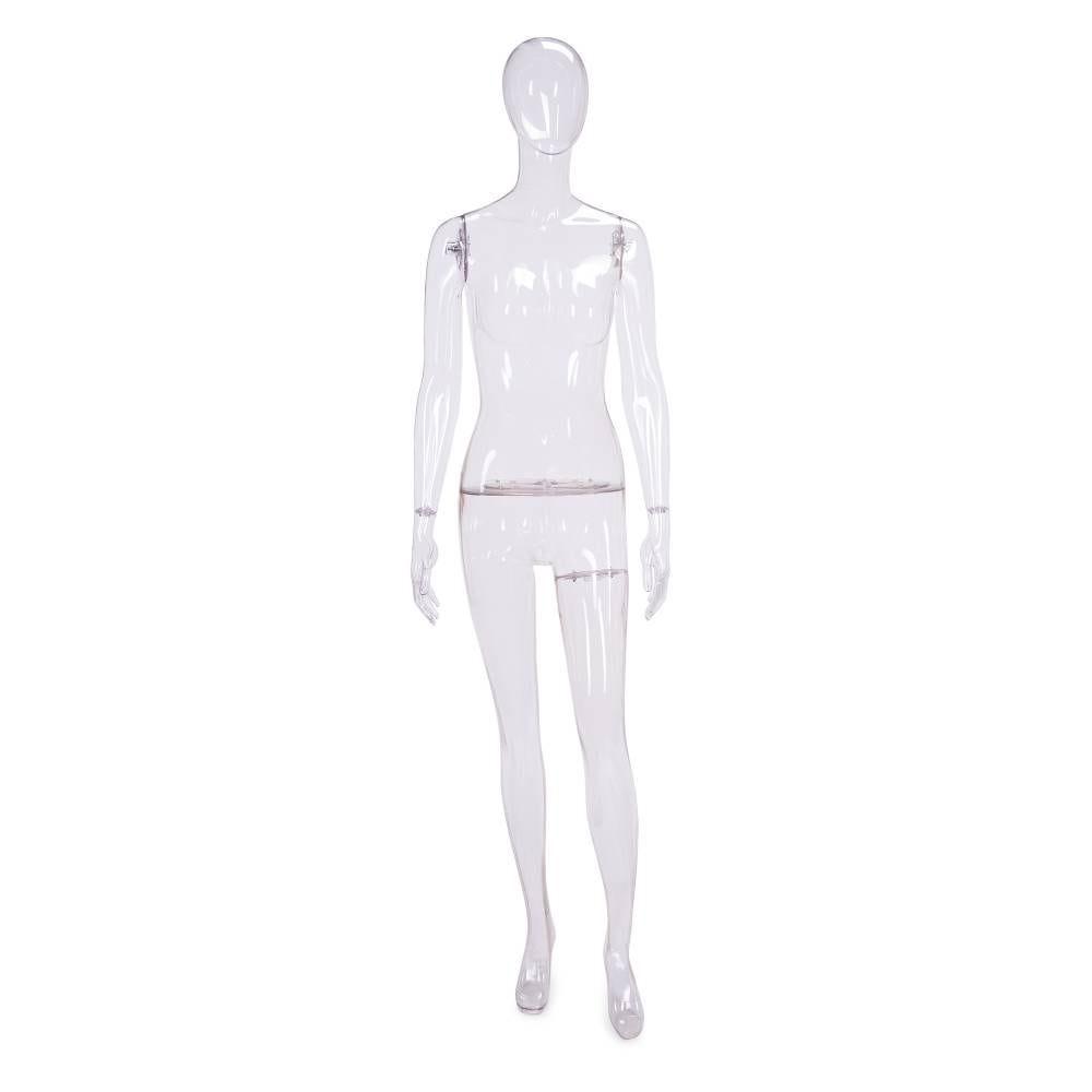 Mannequin femme tête sémi-abstraite polycarbonate transparent socle tiges inclus