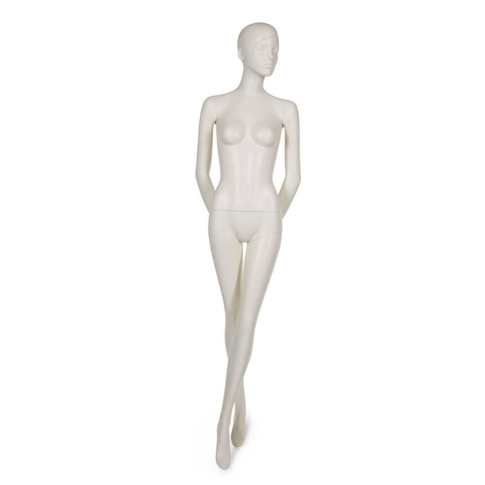Mannequin femme tête abstraite stylisée blanc lait socle et fixations compris (photo)