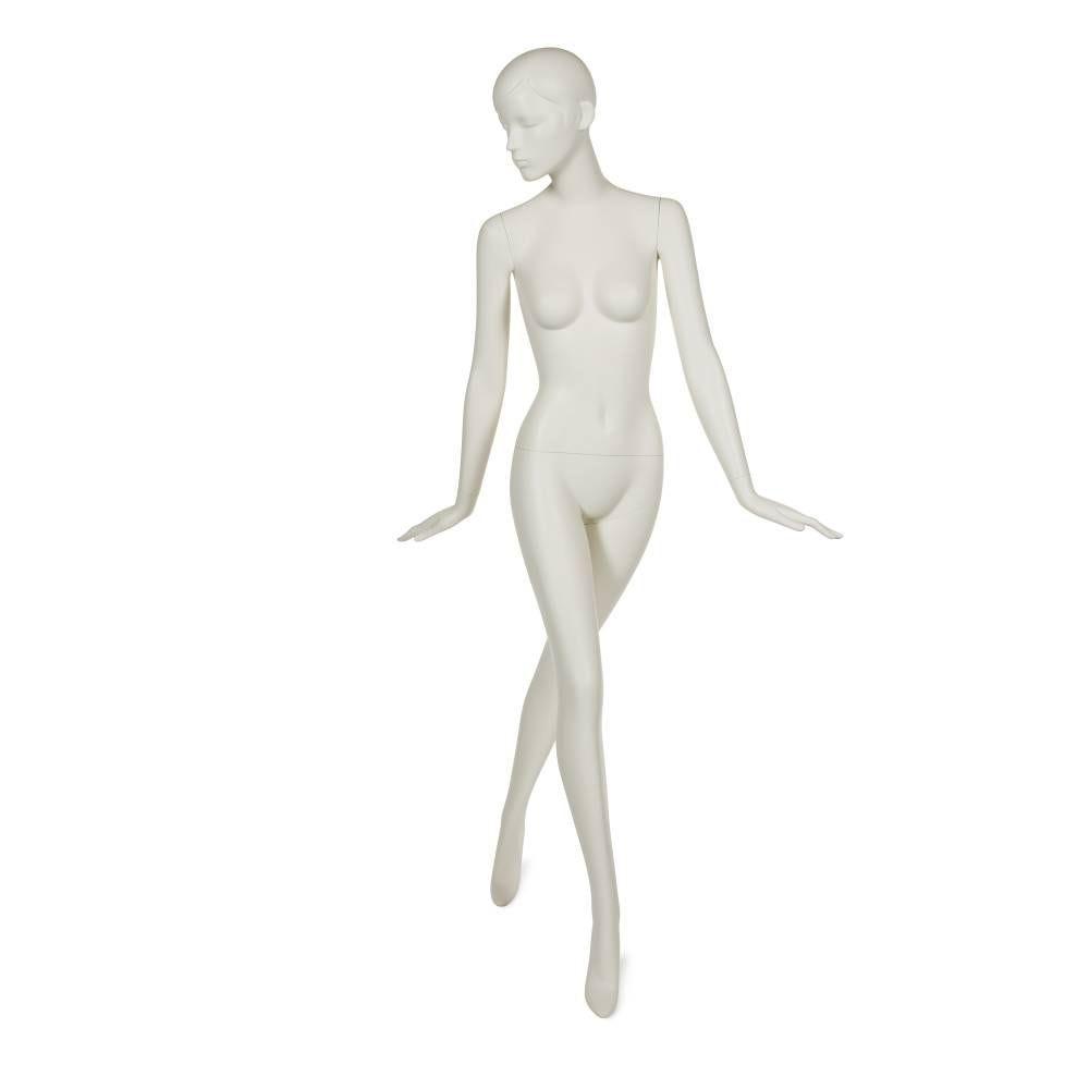 Mannequin femme tête abstraite stylisée blanc lait avec socle & fixations (photo)